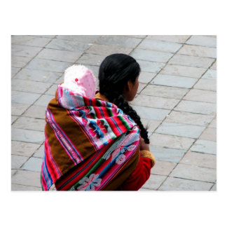 Cusco, Peru, Mutter und Kind 2 Postkarte