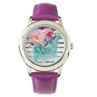 Custom Cuir violette Vintage ajm Uhr