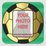 Customizable photo gold soccer ball stickers