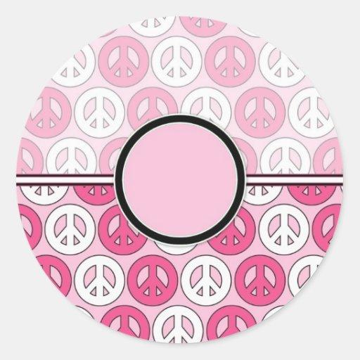 Customizable Pink Peace Symbol Card (2) Sticker