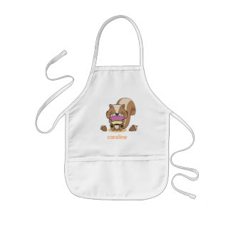 Cute baby Netz squirrel breakfast huzelnuts apron Kinderschürze