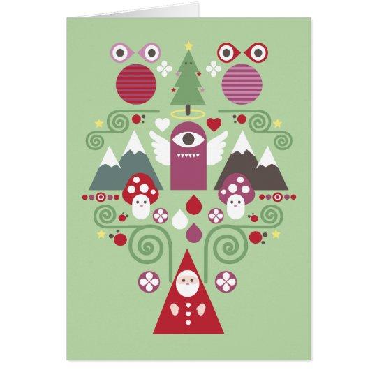 Cute Christmas Greeting Card  - green Karte