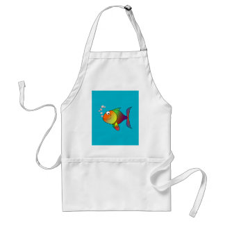 CUTE COLORFUL FISH IN BLUE WATER. FARBE FISH GIFT SCHÜRZE