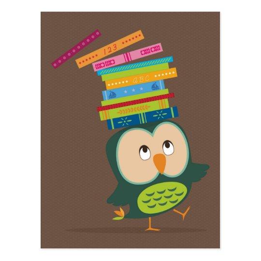 Cute little book owl postkarte