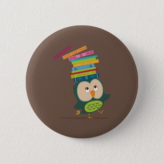 Cute little book owl runder button 5,1 cm