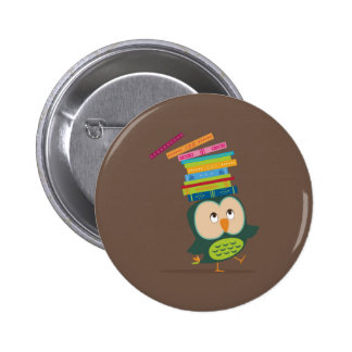 Cute little book owl runder button 5,1 cm