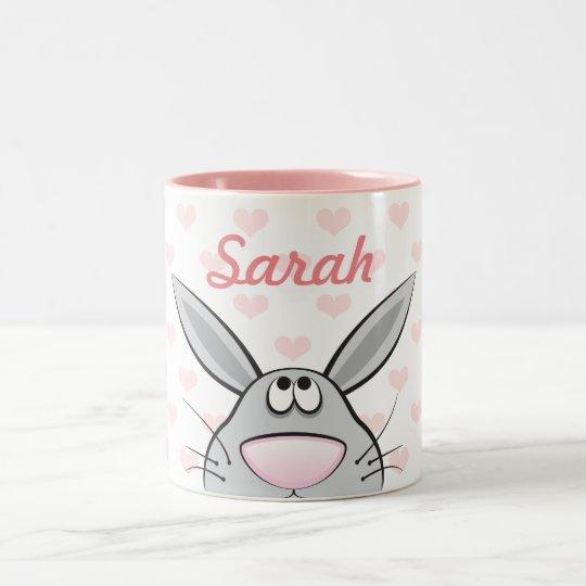 Cute Rabbit with Girls's Name, custom color hearts Zweifarbige Tasse