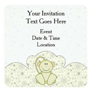 Cutelyn Baby-Affe Quadratische 13,3 Cm Einladungskarte