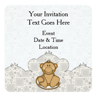 Cutelyn goldener Affe Quadratische 13,3 Cm Einladungskarte
