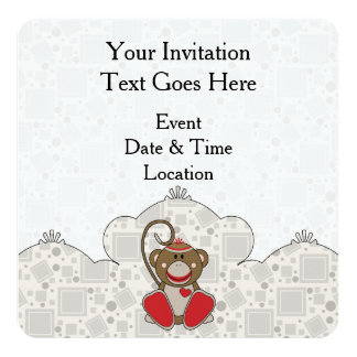 Cutelyn Socken-Affe Quadratische 13,3 Cm Einladungskarte