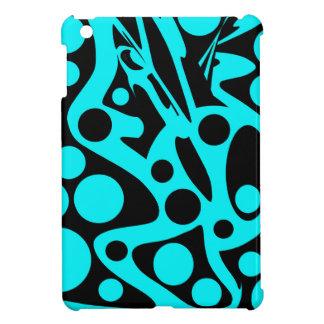 Cyan-blauer und schwarzer Dekor Hülle Für iPad Mini