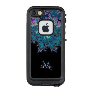 Cyan-blaues blaues lila Monogramm-Fraktal LifeProof FRÄ' iPhone SE/5/5s Hülle