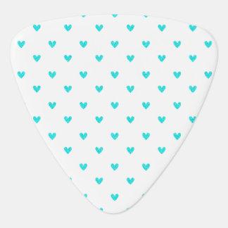 Cyan-blaues Glitter-Herz-Muster Plektrum