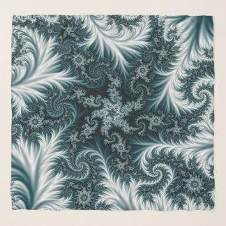 Cyan-blaues und weißes Fraktalmuster Schal