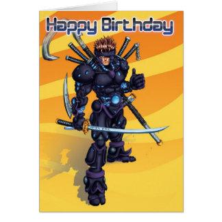 Cyber-Samurai-Geburtstag Karte