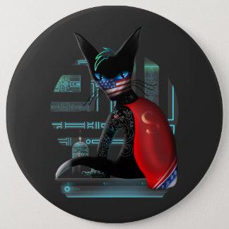 Cyberpunk Ninja Katze Runder Button 15,3 Cm