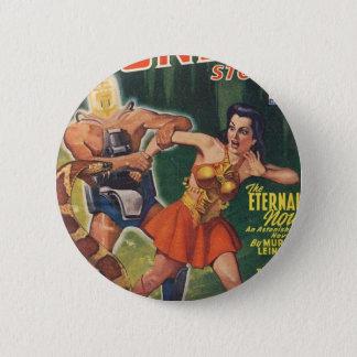 Cybor, Schlangen-und Kriegers-Mädchen Runder Button 5,1 Cm
