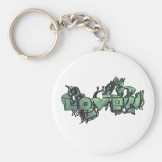 Cyborg-Liebe kritzelt Hintergrund Standard Runder Schlüsselanhänger