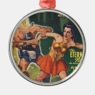 Cyborg und Schlange Rundes Silberfarbenes Ornament