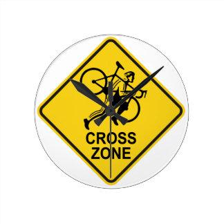 Cyclocross Zonen-Verkehrsschild Runde Wanduhr