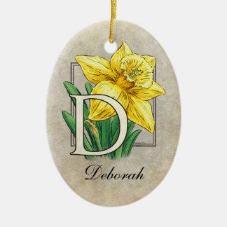 D für Narzissen-Blumen-Monogramm-Verzierung mit Keramik Ornament