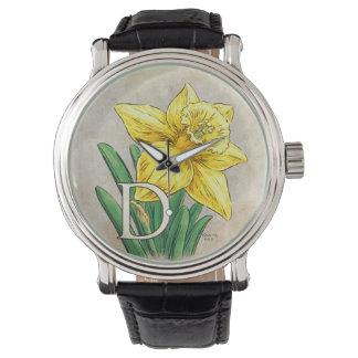 D für Narzissen-Blumenmonogramm Armbanduhr