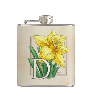 D für Narzissen-Blumenmonogramm Flachmann
