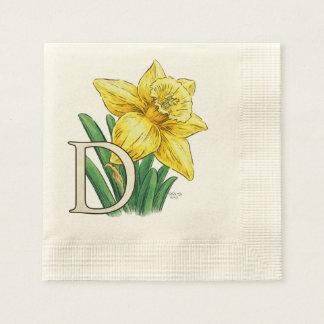D für Narzissen-Blumenmonogramm Serviette