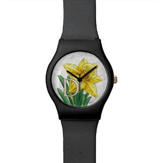 D für Narzissen-Blumenmonogramm Uhr