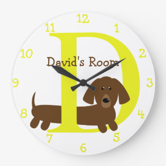 D ist für Hunde-und David-Kindschlafzimmer Große Wanduhr