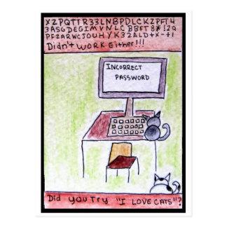 DA CatToon #4 - Katzen-Hacker-Postkarte Postkarte