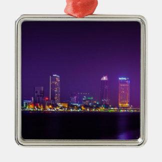 Da Nang-Vietnam-NachtSkyline Quadratisches Silberfarbenes Ornament