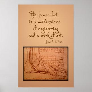 """da Vinci: """"Der menschliche Fuß ist… """" Poster"""