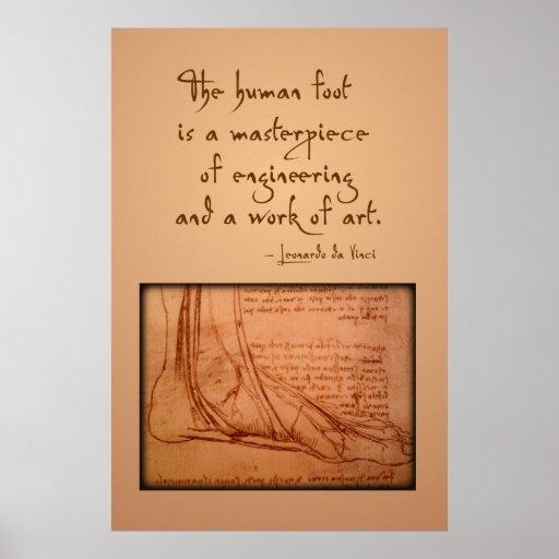 """da Vinci: """"Der menschliche Fuß ist… """" Plakatdrucke"""