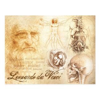 Da Vincis Selbstporträt und anatomische Studien Postkarte