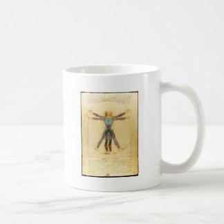Da Vincis Vitruvian Mann mit Tätowierungen Kaffeetasse