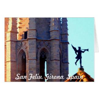 Dach der Sant Feliu Kathedrale, Girona, Spanien Karte