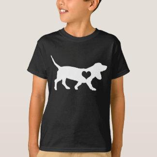 Dachshund-Jagdhund-Herz scherzt dunklen T - Shirt