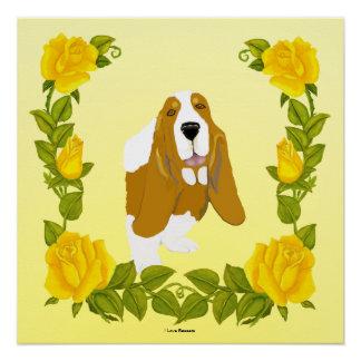 Dachshund-Jagdhund und gelbe Rosen Poster