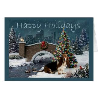 Dachshund-Jagdhund-Weihnachtskarten-Abend Karte