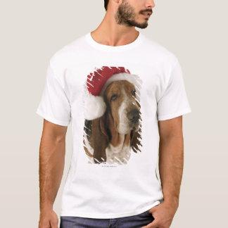 Dachshundjagdhund in der Weihnachtsmannmütze T-Shirt