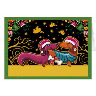 Dachsund-Weihnachtskarte Karte