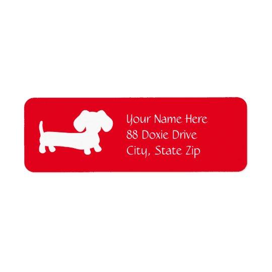 Dackel-Dackel-Hund auf rotem Rücksendeetiketten