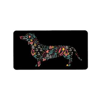 Dackel-Dackel-Hundeblumenmusterwatercolor-Kunst Adressaufkleber