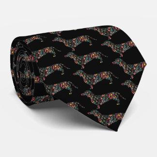 Dackel-Dackel-Hundeblumenmusterwatercolor-Kunst Krawatte