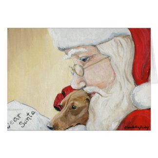 """""""Dackel-Ersuchen um Sankt"""" Kunst-Weihnachtskarte Grußkarte"""