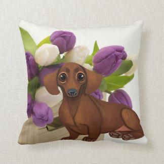 Dackel-Frühlings-Blumenkissen Kissen
