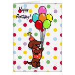 Dackel-Geburtstags-Cartoon-Ballone Grußkarten