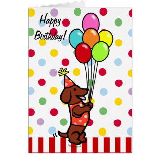 Dackel-Geburtstags-Cartoon-Ballone Karte