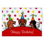 Dackel-Geburtstags-Cartoon Grußkarte